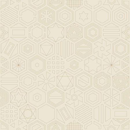 reiteration: Hexagon contour seamless pattern. Geometric background.