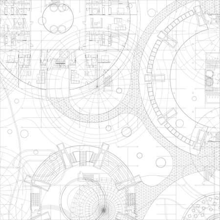 dibujo tecnico: Anteproyecto arquitectónico. Vector el gráfico de fondo. Vectores