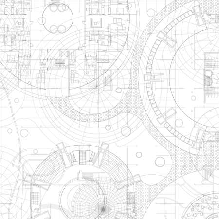 dessin au trait: Plan architectural. Dessin vectoriel fond. Illustration