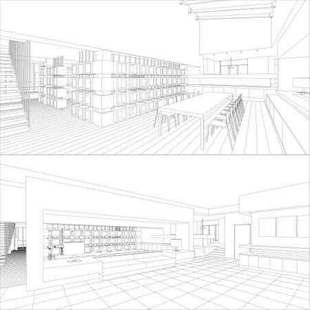 line lines luxury meeting: Interior vector drawing.