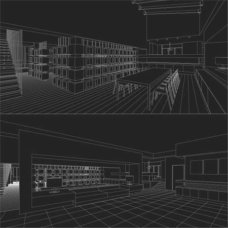 interior design: Interior vector drawing. Architectural design.