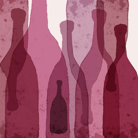 Wine bottles. Watercolor silhouettes. Vector