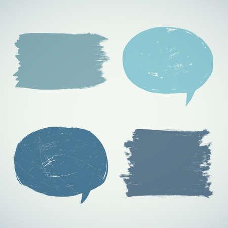 Set of grunge speak bubbles.