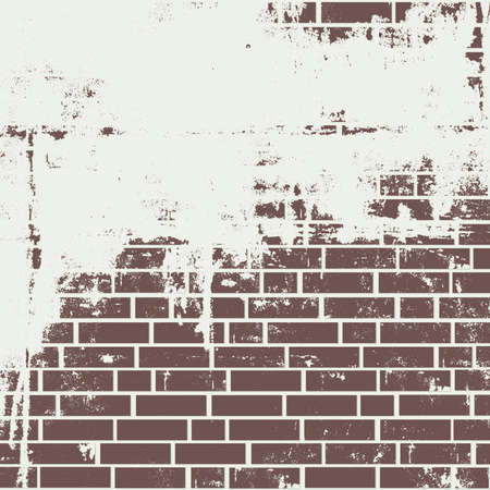 clinker tile: Plastered brick wall. Vector background Illustration