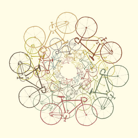Colored bikes. Vector background with bicycles Vector