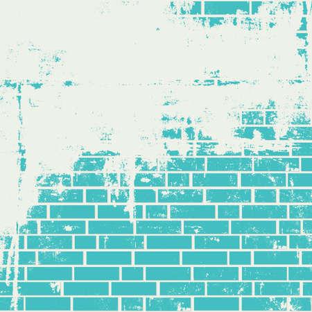 azul turqueza: Pared de ladrillo enyesada. Vector grunge fondo