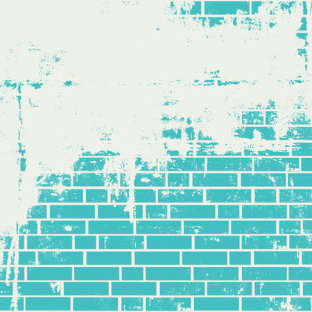 and turquoise: Plastered brick wall. Vector grunge background Illustration
