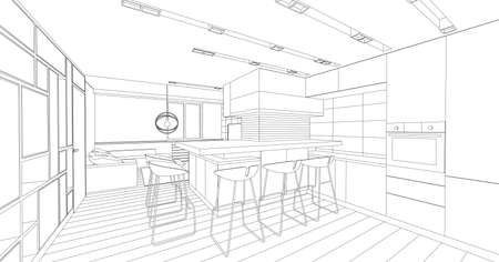 architectural design: Interior vector drawing. Architectural design. Living room