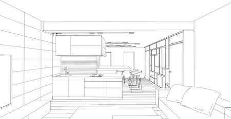 Interior vector drawing. Architectural design. Living room