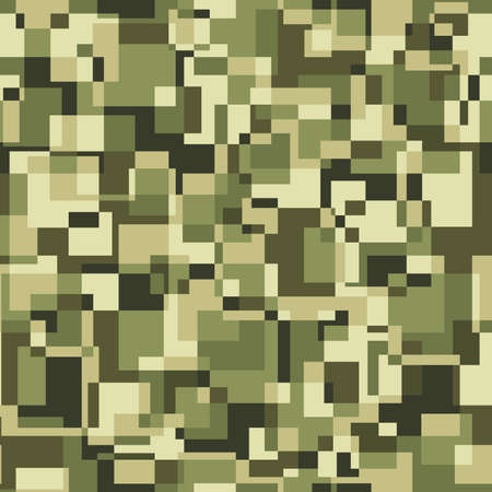 hideout: Square pixel seamless pattern. Vector military background