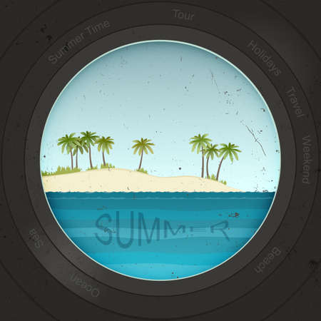 background summer: View of the beach with binoculars or a porthole. Summer background Illustration