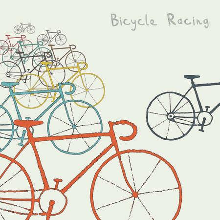bike cover: Colored bikes Illustration