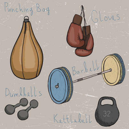 hand weight: Set of sports equipment. Boxing weightlifting ... Illustration
