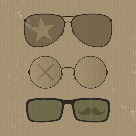 wayfarer: Glasses set. Hipster retro style Illustration