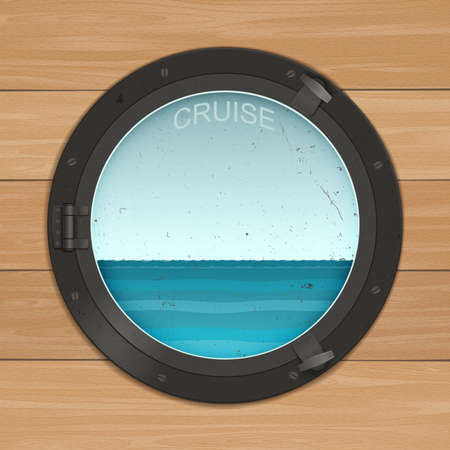 view window: Sea view out the round window Illustration