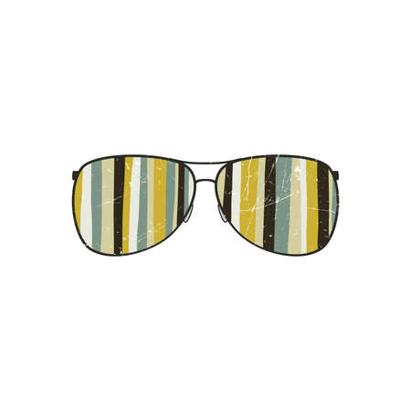 rastafarian: Aviator sunglasses shape with striped reflection Illustration