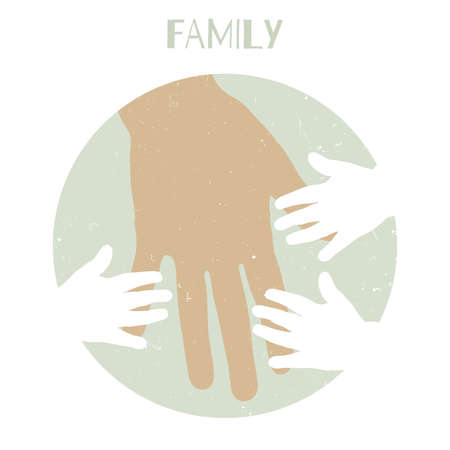 yong: Silhouettes of children39s hands and mother39s hand Illustration