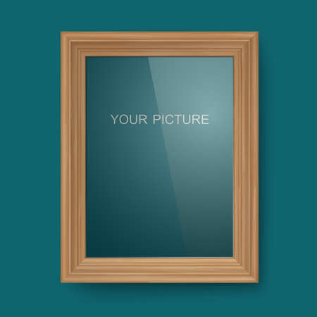 Wooden frame with glass on a dark blue background. Vector
