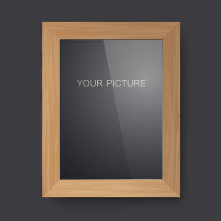 cadre: Wooden frame with glass on a black background. Illustration