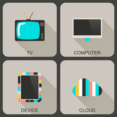 Modern flat icons with long shadows. Technology icons set. Illustration