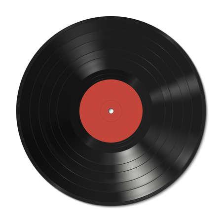 Vector illustration d'un disque vinyle avec une étiquette rouge. Banque d'images - 39970142