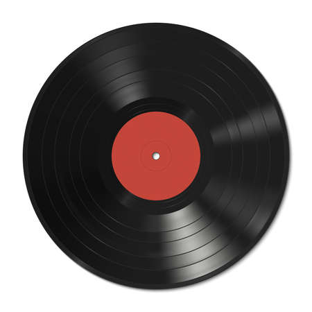 record albums: Vector illustration of a vinyl record with red label.