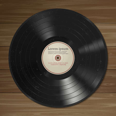 Vector illustration of a vinyl record with dust on the surface. Wooden background Vector