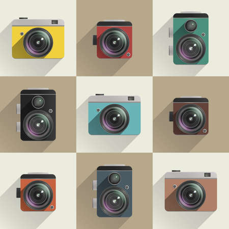 Set of colored camera icons. Different types of cameras