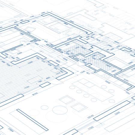 Blueprint. Vector tekening achtergrond. Stock Illustratie