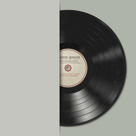 Vinyl record with dust on the surface. Musik background. Stock Illustratie