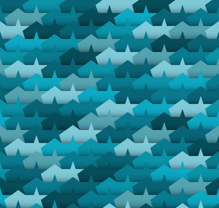 imposition: Geometric seamless pattern. Blue abstract background with stars.