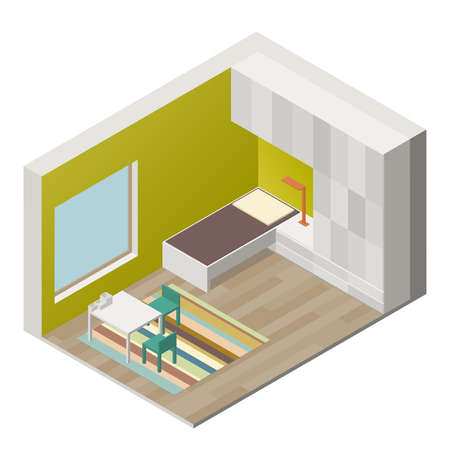 children room: Illustration of the interior of children room. Isometric view Illustration