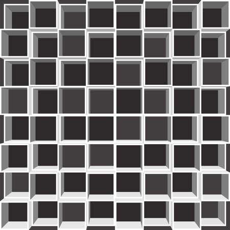 Abteile: Regal mit quadratischen F�chern. Wei� Regal auf schwarzem Hintergrund. Illustration