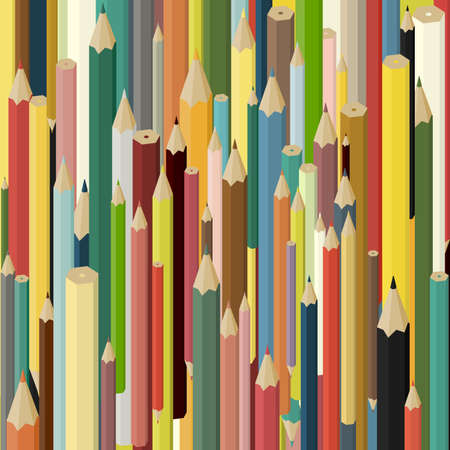 school kit: Set of colored vertical pencils. Abstract background