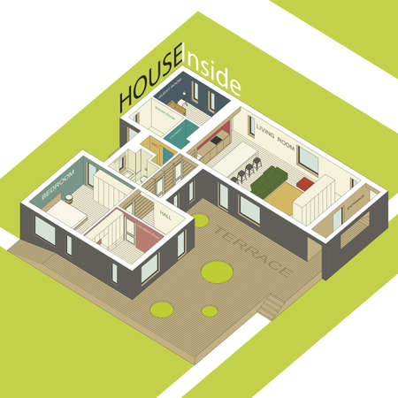 building plan: Isometric illustration of the house inside. Interior of a modern house. Illustration