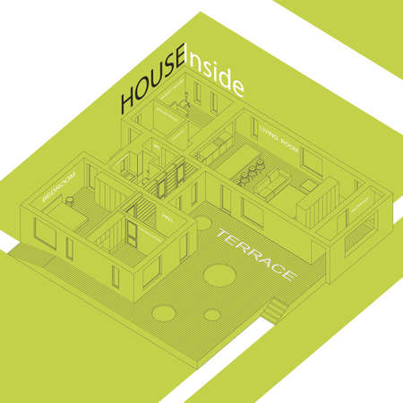 home furniture: Isometric illustration of the house inside. Interior of a modern house. Illustration