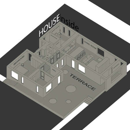 cross section: Isometric illustration of the house inside. Interior of a modern house. Illustration
