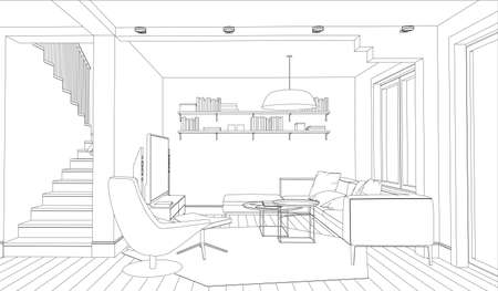lounge room: Line drawing of the interior on a white background Illustration