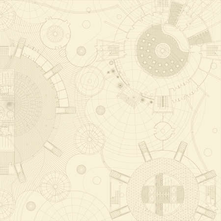 Vector blueprints on a beige background. Engeneer and architectural drawing.  イラスト・ベクター素材