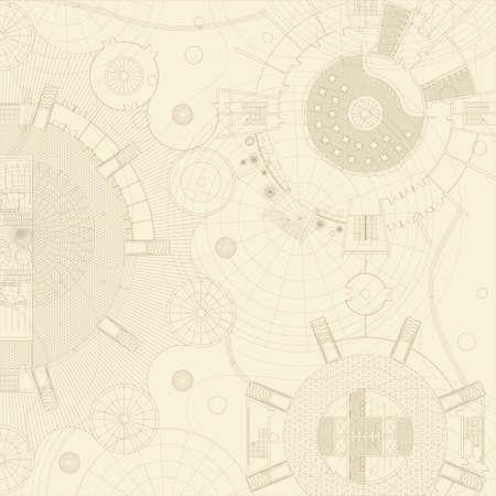 dibujo tecnico: Planos del vector en un fondo beige. Engeneer y dibujo arquitectónico. Vectores