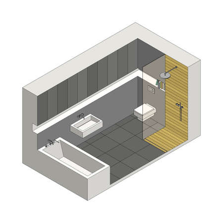 sanitary engineering: Illustration of the interior of bathroom. Isometric view