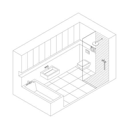 sanitary engineering: Illustration of the interior of bathroom. Isometric view