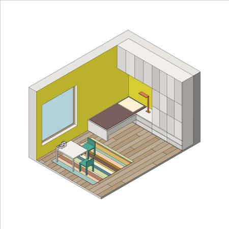 child room: Illustration of the interior of children room. Isometric view Illustration