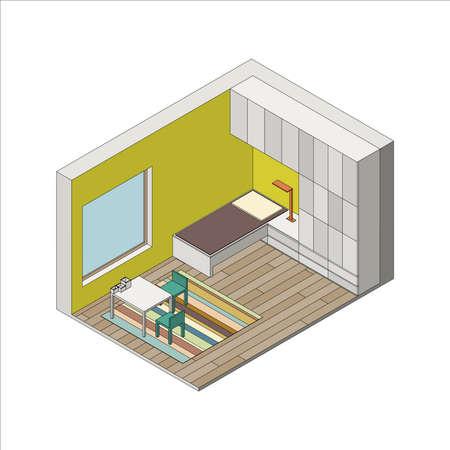 storage room: Illustration of the interior of children room. Isometric view Illustration