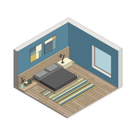 cutaway: Illustration of the interior of bedroom. Isometric view.