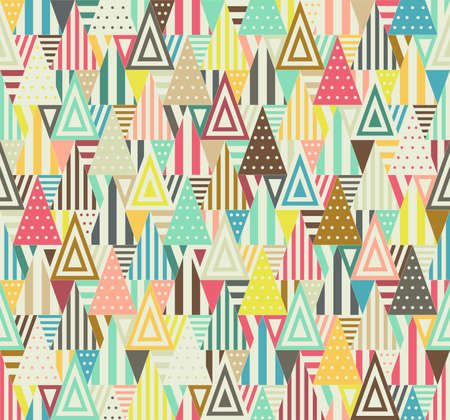 Color triangular seamless pattern on white background. Triangles consist of different forms.