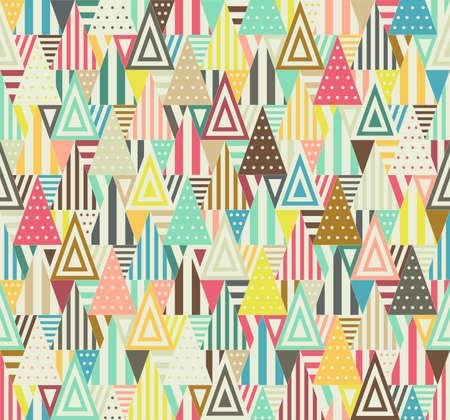forme: Couleur seamless triangulaire sur fond blanc. Triangles sont constitués de différentes formes.