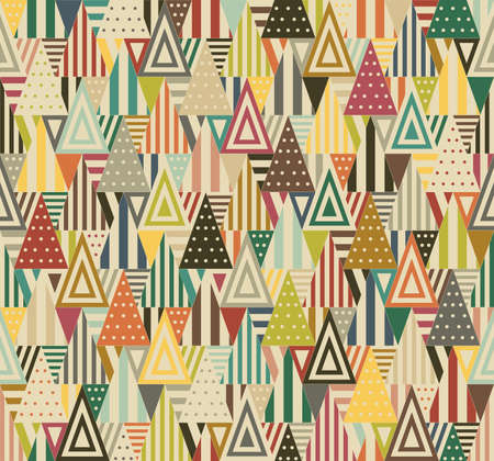 Color triangular seamless pattern on beige background. Triangles consist of different forms. Stock Illustratie