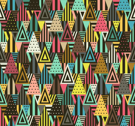 decoration style: Color triangular seamless pattern on black background. Triangles consist of different forms.