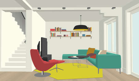 engeneering: Perspective view of the interior of the living room Illustration